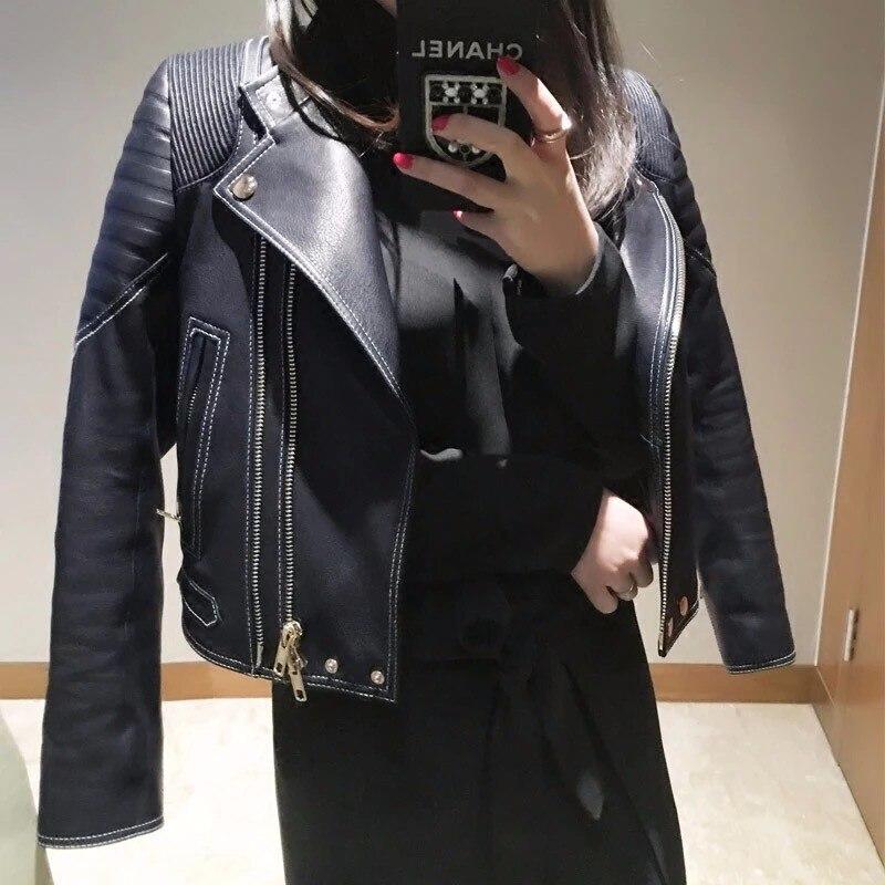 2017 nueva primavera otoño de piel de oveja real capa de la chaqueta del motoris