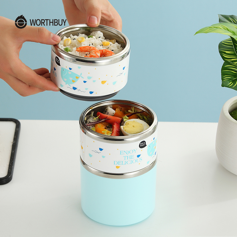 Kuća i bašta ... Kuhinja i trpezarija ... 32708303627 ... 5 ... WORTHBUY Cute Japanese Thermal Lunch Box Leak-Proof Stainless Steel Bento Box Kids Portable Picnic School Food Container Box ...