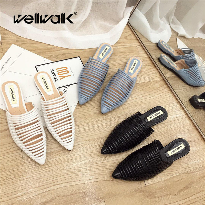 Wellwalk Designer Slippers Women Flats Mules Shoes Women Fashion Stripe Slides Ladies Brand Mules Female Luxury Slippers