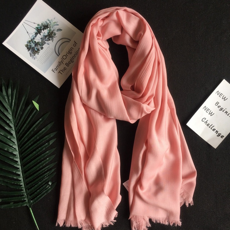 Silk Cashmere Modal   Scarf   Shawl Women Pashmina Solid Color Tassel   Scarves     Wraps   Fast Delivery 80*195cm