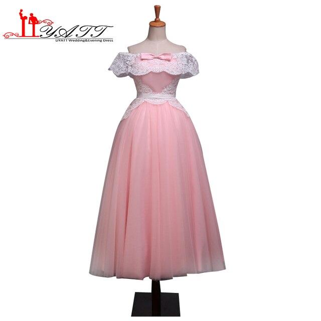 a6b4a4eff96 vestidos de formatura 2016 Skin Pink Puffy Ball Gown Real Picture Cheap  Ivory Lace Arabic Evening Prom Dress LIYATT Abendkleider