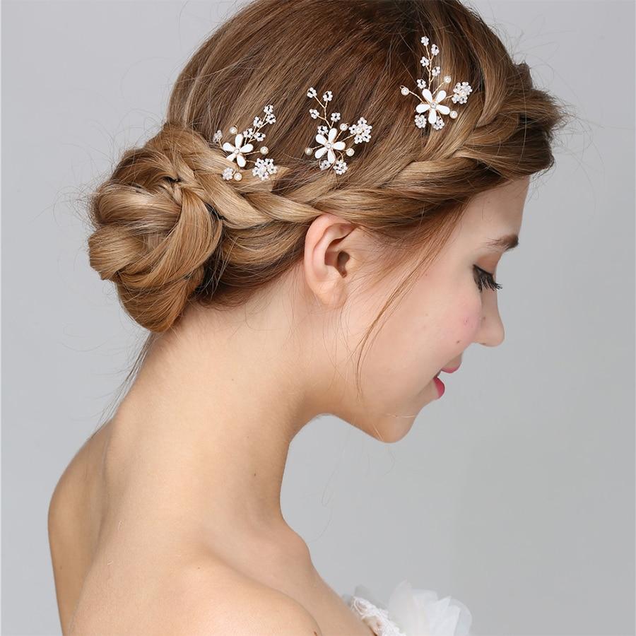 buy bridal wedding hair accessories for women hair pin white