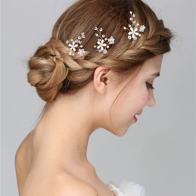 Bridal Wedding Hair Accessories For Women Pin White Beads Pearls Gold Flower Stick