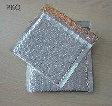 100 sztuk małe plastikowe poli Bubble Mailing Mailer wysyłka koperty bąbelkowe torby kolor srebrny odporny na wstrząsy kurier Bubble koperta