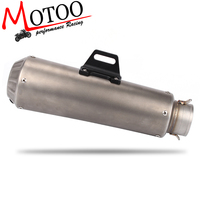 Motoo Motorcycle Exhaust Pipe Muffler Inlet 51mm Escape Exhaust Mufflers Stainless Steel Exhaust Pipe