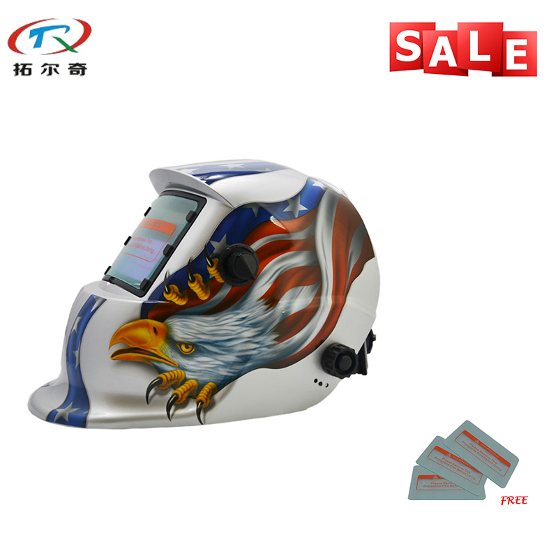 Careful Silver Eagle Electric Owl Industrial Safety Welding Helmet Automatic Uv Protection Battery Welding Helmet Mask Trq-hd13-2233de Welding Helmets