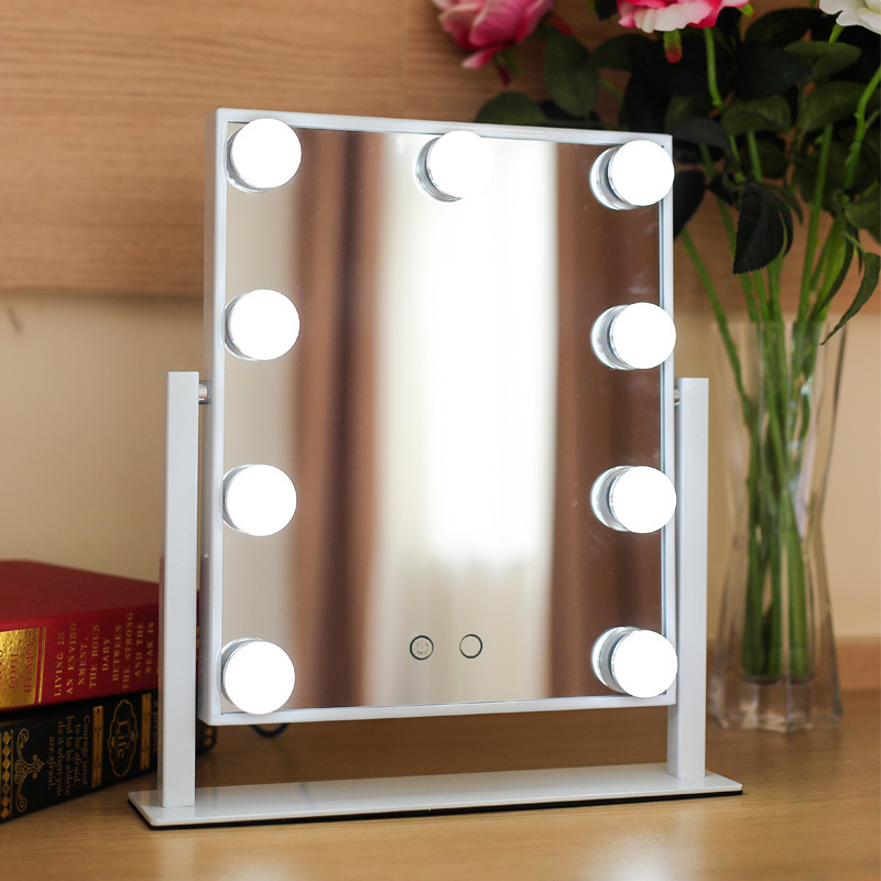 Makeup Mirror with Lights Hollywood 9 LEDs Vanity Touch Control Adjustable Brightness Beauty Salon Cosmetic MirrorsMakeup Mirror with Lights Hollywood 9 LEDs Vanity Touch Control Adjustable Brightness Beauty Salon Cosmetic Mirrors