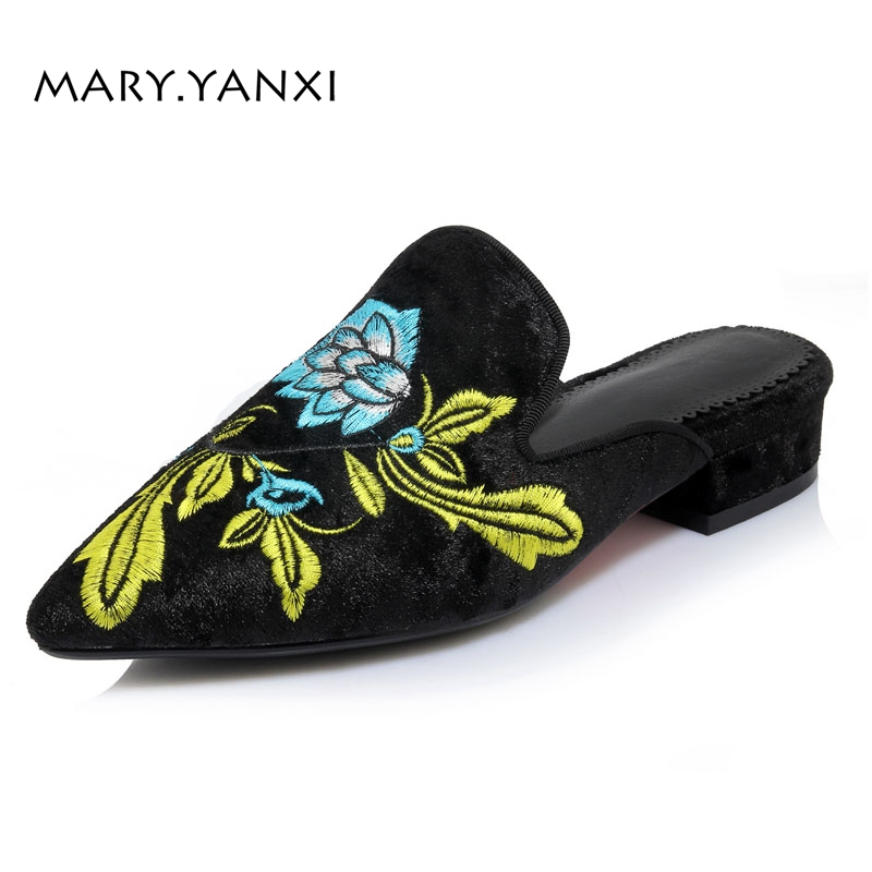 Women Flats Lazy Shoes Mules Retro Flock Gold Velvet Slippers Floral Flower Embroider Slip-On Pointed Toe Big Size vintage embroidery women flats chinese floral canvas embroidered shoes national old beijing cloth single dance soft flats