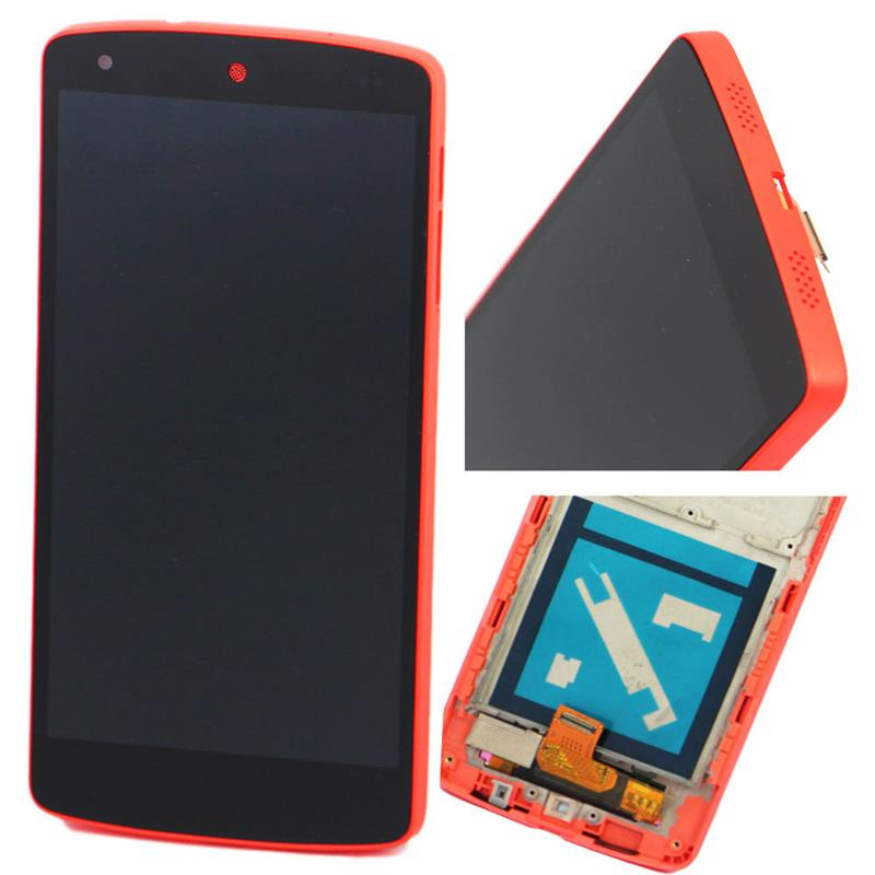 LCD Display For LG Google Nexus 5 D820 D821 Touch screen digitizer full assembly + Red Bezel Frame Free shipping
