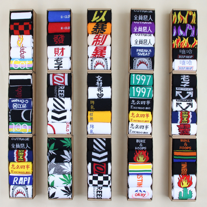 1 Pair Women Men   Socks   Street Flame Pattern Hip Hop Harajuku Funny Skateboard Business Unisex   Sock   Cotton Long Knee Men's   Sock