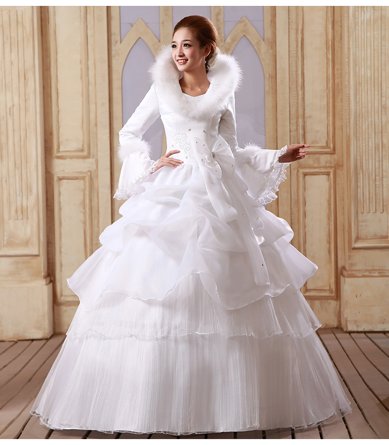 Adding Cap Sleeves Wedding Dress To: New Paragraph 2017 Winter Neat Long Sleeve Add Cotton