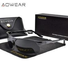 AOWEAR Outdoor Sports Rimless Sunglasses Men Polarized Aluminum Magnesium Sun Glasses Male HD UV400 Driving Shades Glasses Gafas