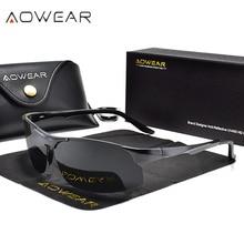 AOWEAR الرياضة في الهواء الطلق بدون شفة النظارات الشمسية الرجال الاستقطاب الألومنيوم المغنيسيوم نظارات شمسية الذكور HD UV400 القيادة ظلال نظارات Gafas
