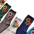 [Cosplacool] nuevo llegado de corea del estilo de moda de las mujeres calcetines de invierno joya sun flower gem del color del caramelo hecho a mano calcetines calcetines meias