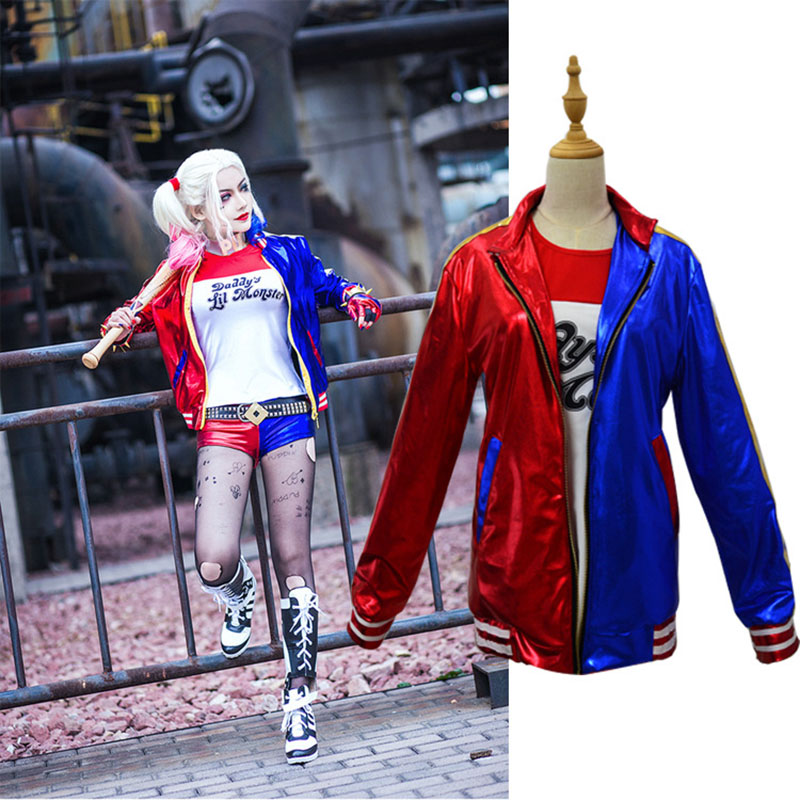 2019 Newest Adult Harley Quinn Costume Cosplay Movie Batman Suicide Squad Team Halloween Purim Jacket sets for women Costums
