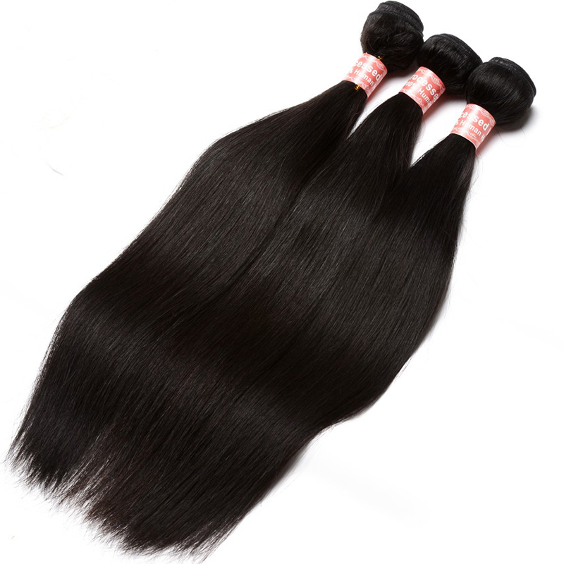 Peruvian Virgin 3 pcs Human Hair Weave Bundles Straight 100% Human Hair Extensions Natural Color Sunny Queen Hair Products