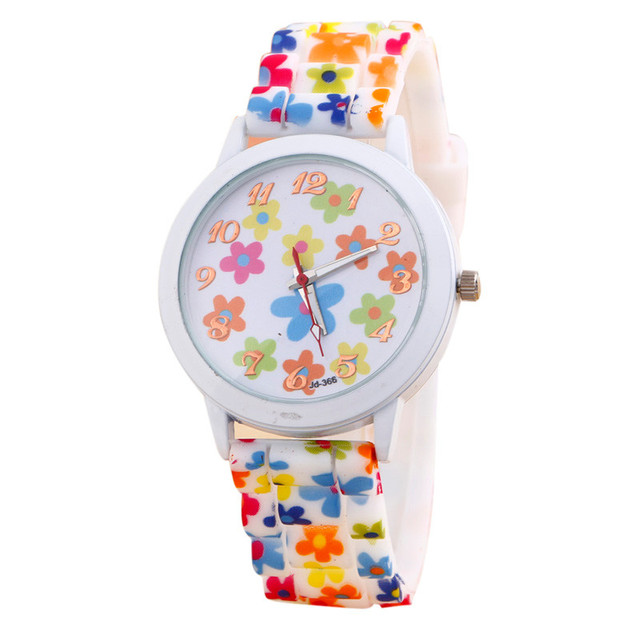 2017 HOT Fashion Women Watches Reloj Rose Flower Print Silicone Floral Jelly Dre