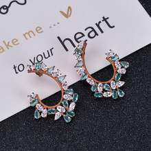Funmor Exaggerate Drop Earrings Crystal Ear Jewelry 925 Sterling Silver Girls Women Banquet Anniversary Ornaments Brincos Gifts