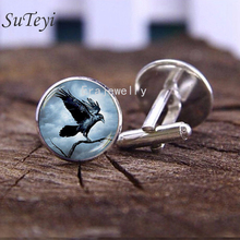 SUTEYI 'Eagle on the Tree' Cufflinks For Mens Art Print Picture Glass Cabochon Cufflink Silver Color Shirt Cuff Links Jewelry