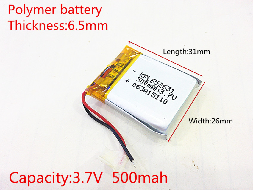 3.7V,500mAH [652631] PLIB (polymer lithium ion / Li-ion battery ) for Smart watch,GPS,mp3,mp4,cell phone,speaker 1pcs [sd] 3 7v 420mah [402540] polymer lithium ion li ion battery for toy power bank gps mp3 mp4 cell phone speaker