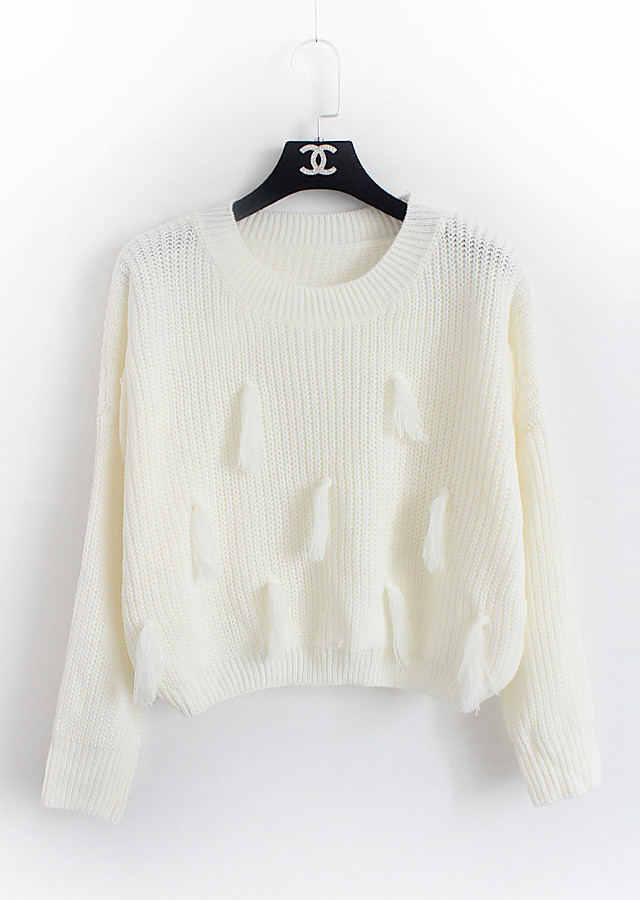 Women Cropped Sweater 2017 Spring Korean Casual Batwing Tassel Knit ... dbcfd9b1e