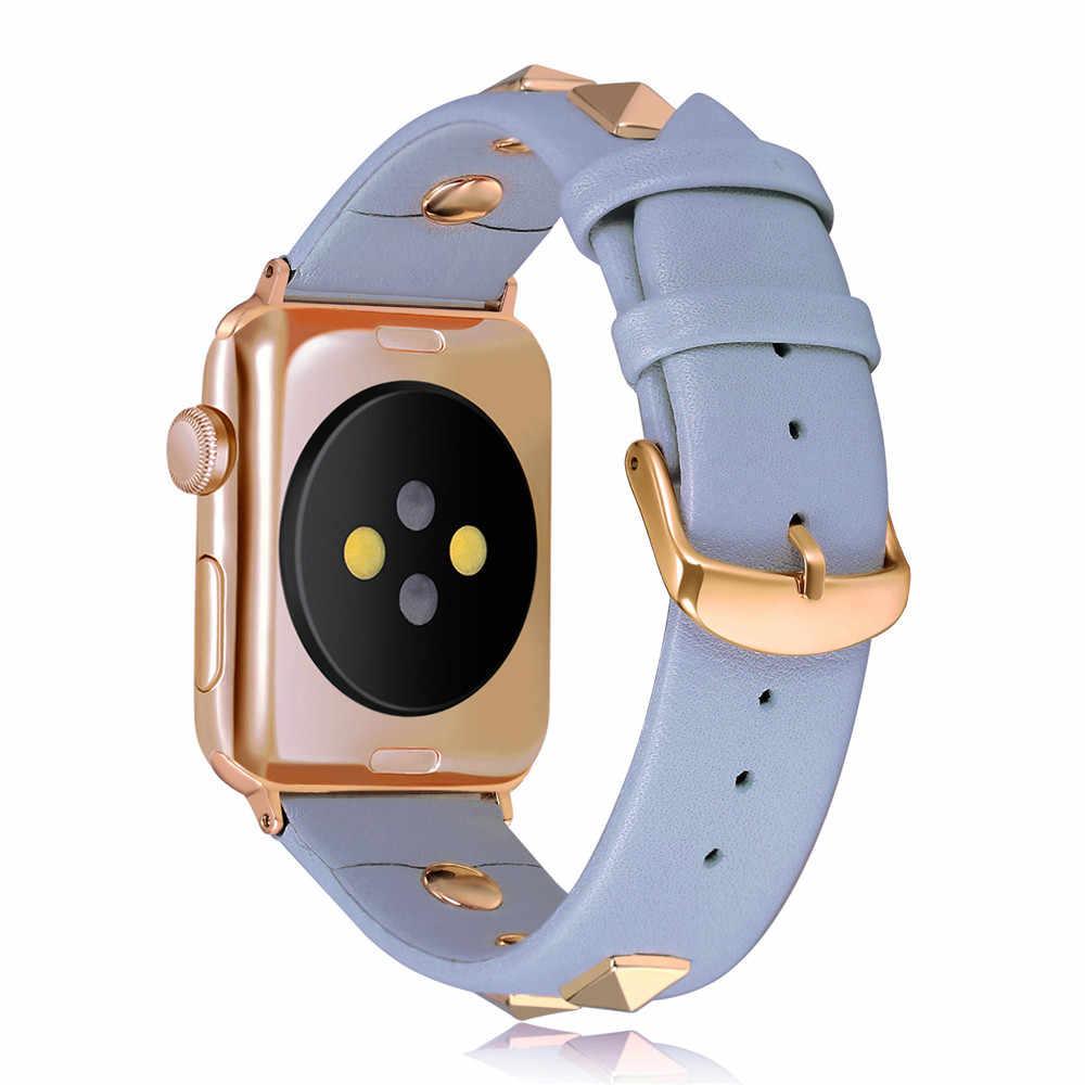Di lusso Rivetto Serie Cinturino Della Cinghia di Cuoio per Apple 5 4 3 2 1 Cinghia Da Polso 40/44/ 38/42 millimetri per iWatch Accessori Braccialetto