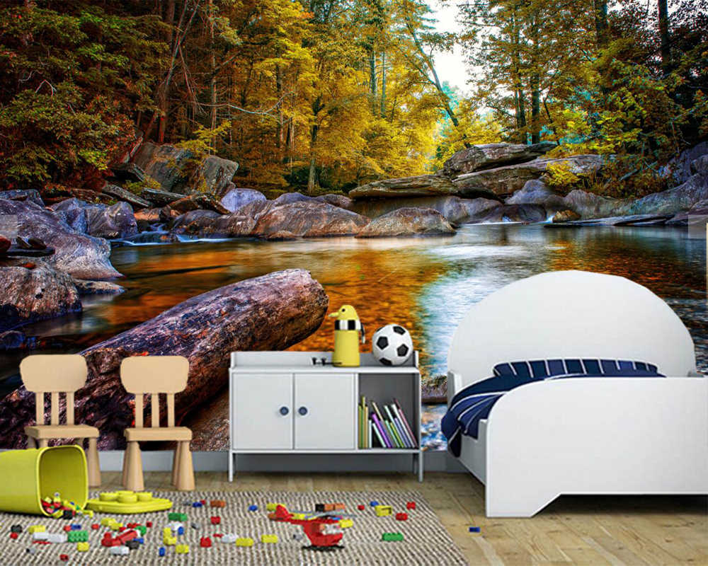 Papel de pared Herfst Rivieren Stenen Bos Bomen Natuur behang, woonkamer sofa TV muur slaapkamer keuken muur papier home decor