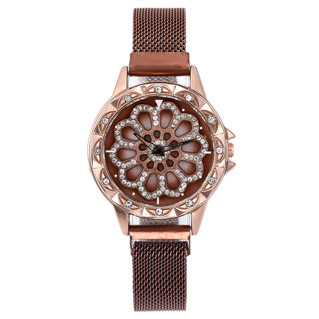 360 Degree Rotation Women Mesh Magnet Buckle Starry Sky Watch Luxury Fashion Ladies Geometric Quartz Watch Relogio Feminino 3