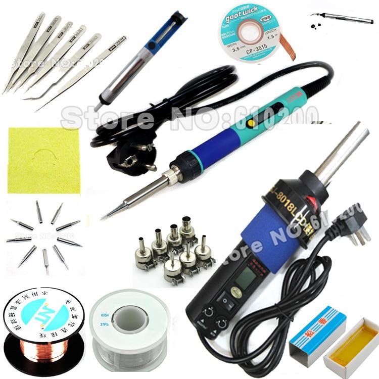 ФОТО DHL fedex Digital LCD Adjustable Electric soldering iron + Hot Air Gun Desoldering Soldering 450W for Welding repair kit SET