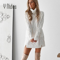 Women Pullover Winter White Sweater Dress Female Turtleneck Argyle Weave Full Sleeve Loose Pullover With Pocket Knit Long Jumper