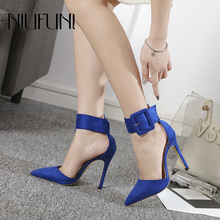 Fashion Pointed Color Matching Shallow Womens Sandals NIUFUNI 2019 New Arrival Sexy Belt Buckle High Heels Hollow Casual Shoes