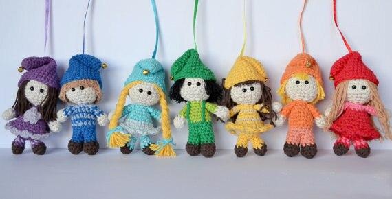 rainbow elves mobile amigurumi rattle