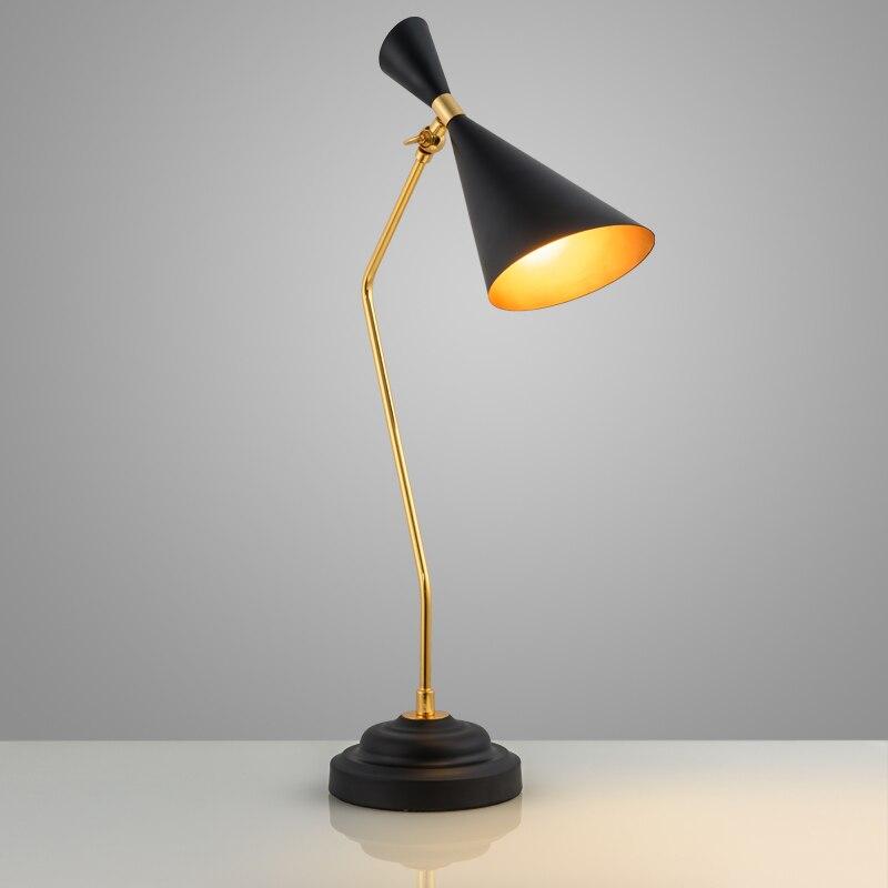Изучение американской Современные настольные лампы железа лампы спальня ночники дизайнер Ретро настольные лампы для чтения za811154