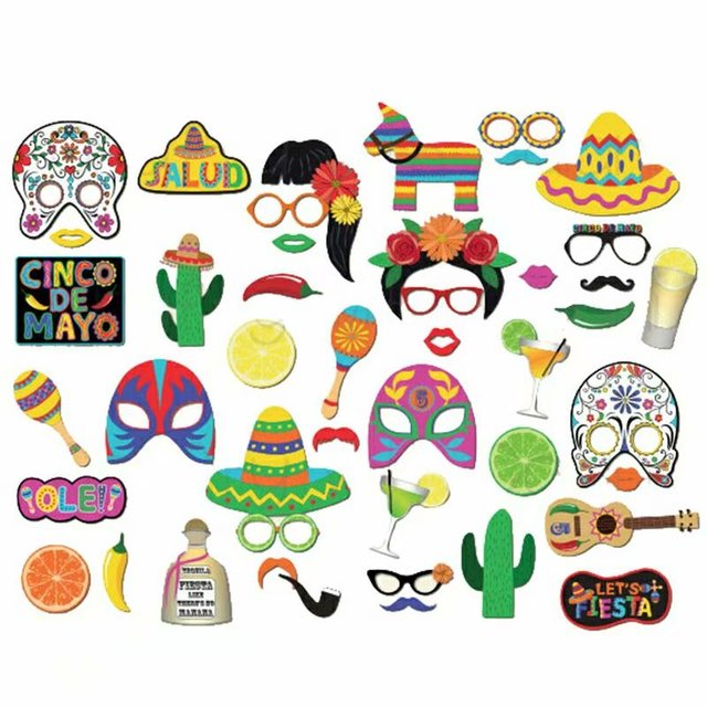45 pcs photo booth props fiesta party supplies mexican carnival