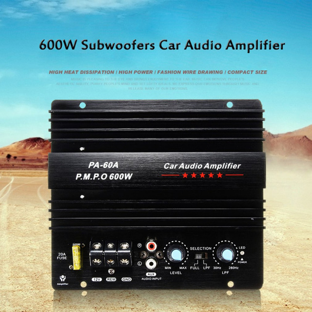 Best Offers 12V 600W High Power Car Audio Amplifier Fashion for Mono Wire Drawing Powerful Bass Subwoofers Amplifier With 20A Fuse Hot Sale