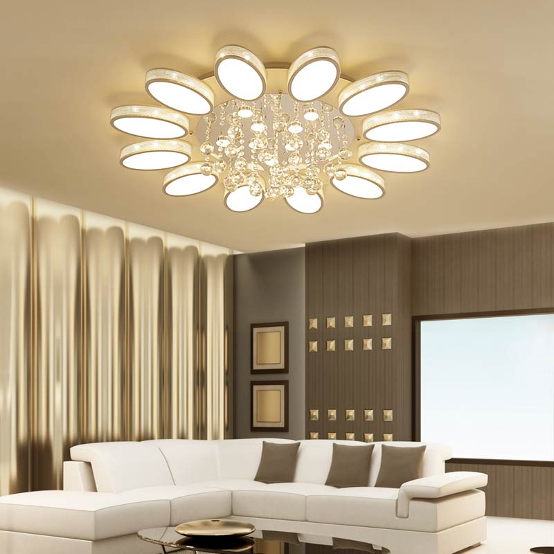 Modern Crystal Chandelier With Remote Control White Acrylic Lamp Living Room Kitchen Foyer Lustre Decor Home Lighting Fixtures
