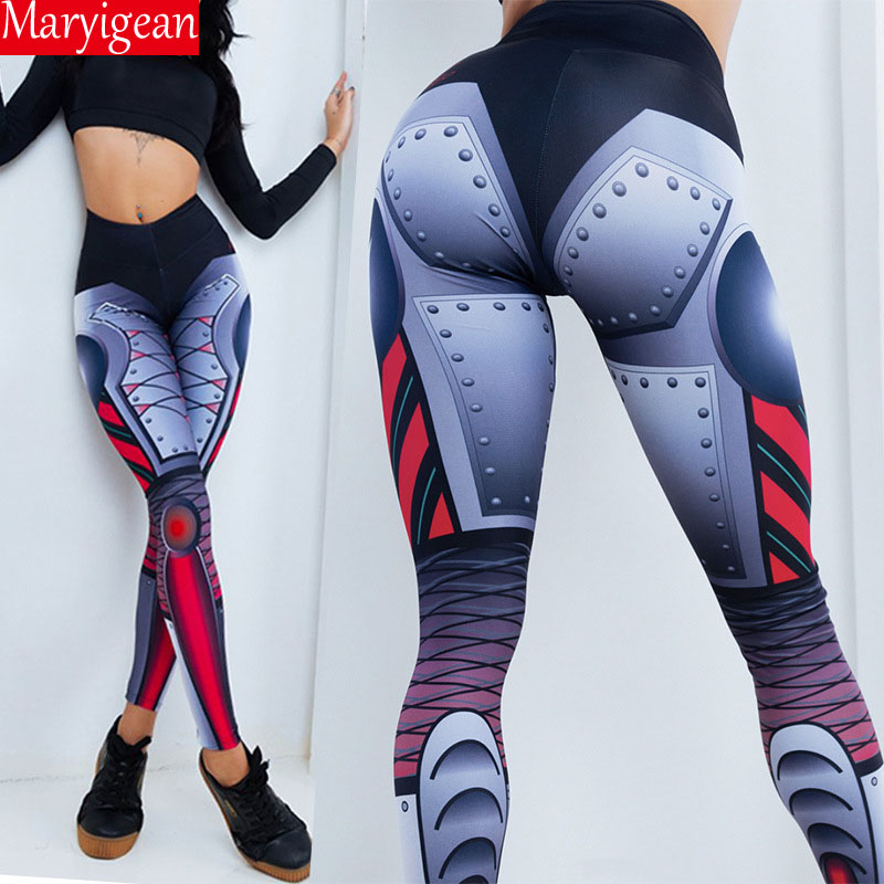 Maryigean Sexy Geometric Code Print Yoga Leggings Push Up High Waist Leggings Women Fashion Polyester Ankle-Length Pants