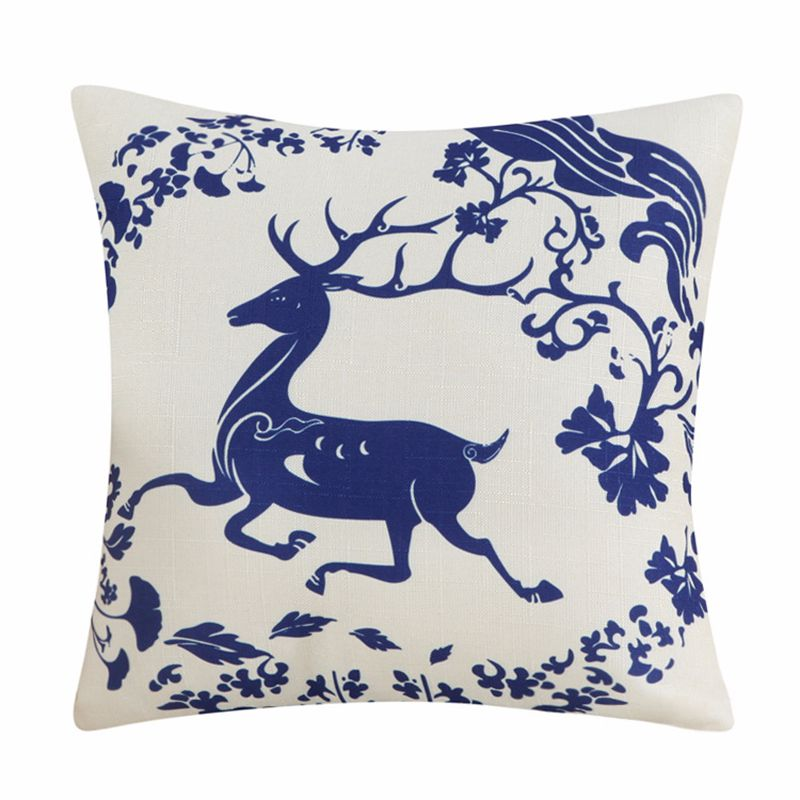 High Quality Cotton Linen Pillow Cover Chinese Style Decorative Pillows Retro Blue And White Porcelain Florals Pattern Cushion in Cushion Cover from Home Garden
