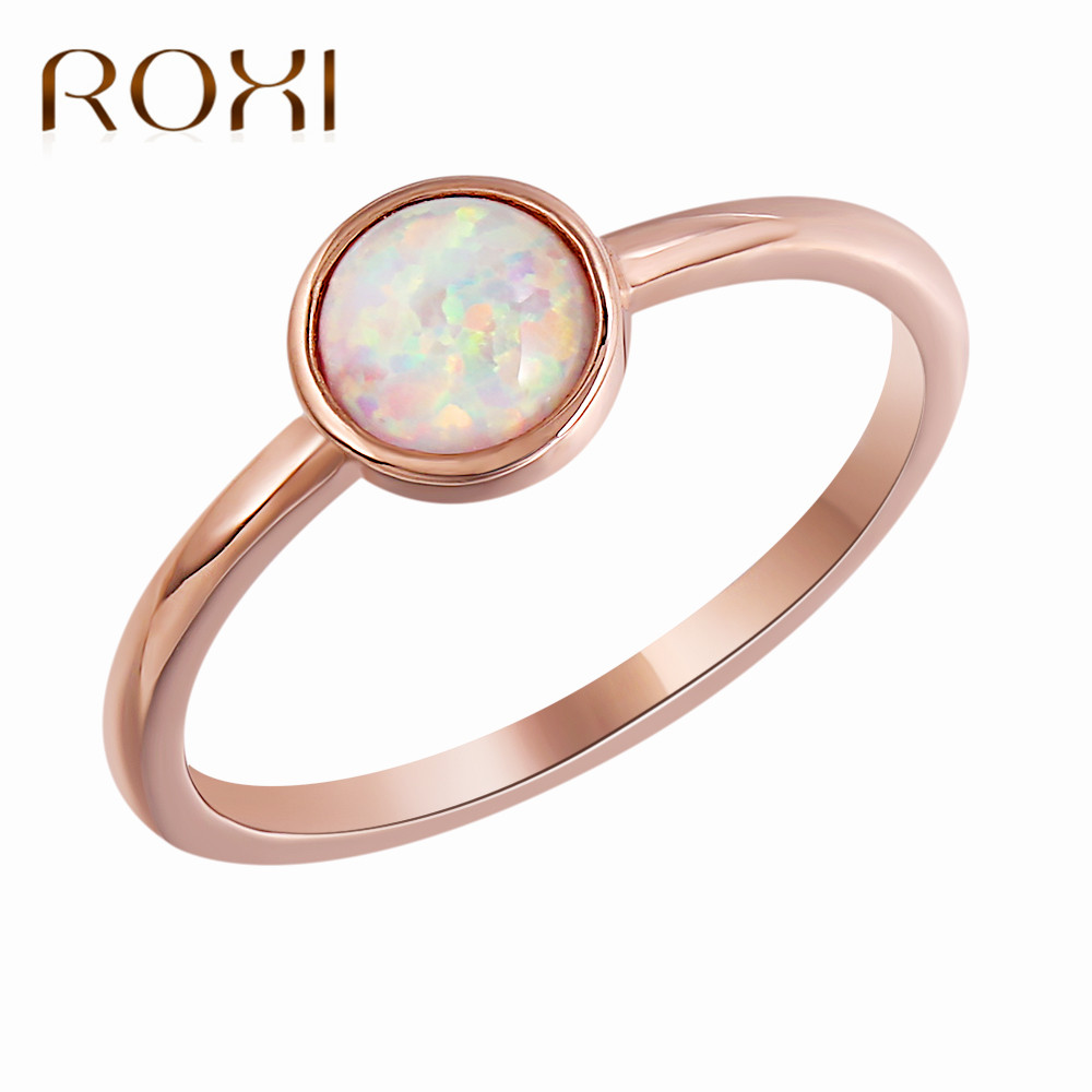 ROXI Charm Round Opal Ring Jewelry Bague Femme Rose Gold Color Engagement Ring Wedding Rings for Women Drop Shipping Size 6 -9