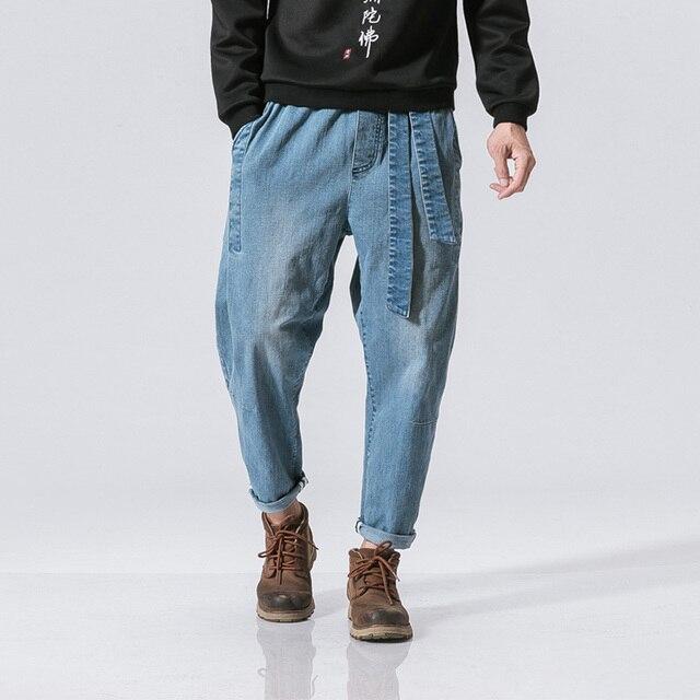 Vendita calda 2017 Uomo allentato dei jeans di hiphop hiphop dei jeans di  skateboard pantaloni larghi bce034e1590f