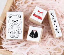 4 Pcs/set DIY New Lovely Toy Bear Stamp Set Wooden Clear Rubber Stamps For Scrapbook Zakka Office School Supplier Stamp(China)