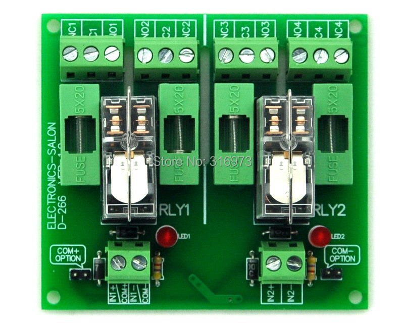 Fused 2 DPDT 5A Power Relay Interface Module, G2R-2 12V DC Relay.Fused 2 DPDT 5A Power Relay Interface Module, G2R-2 12V DC Relay.
