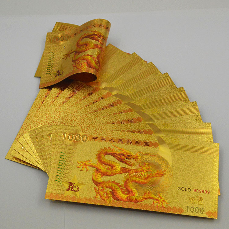 10pcs/lot China 100 Yuan 2000 Commemeorative Polymer UNC Dragon Currency Color Gold Banknote