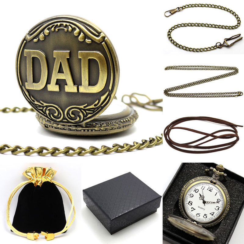 Trendy FOB Pocket Watch DAD Watch With Necklace Pendant Chain And Watch Box Gift For Father's Day Quartz Clock Reloj Daddy