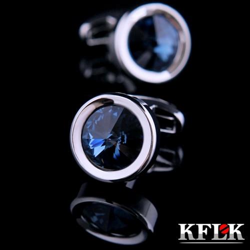 KFLK 2020 prabangių marškinių rankogalių segtukai vyrams Prekės ženklo rankogalių sagos vestuvėms Krištoliniai rankogalių saitai Aukštos kokybės apvalūs abotoadurai Papuošalai