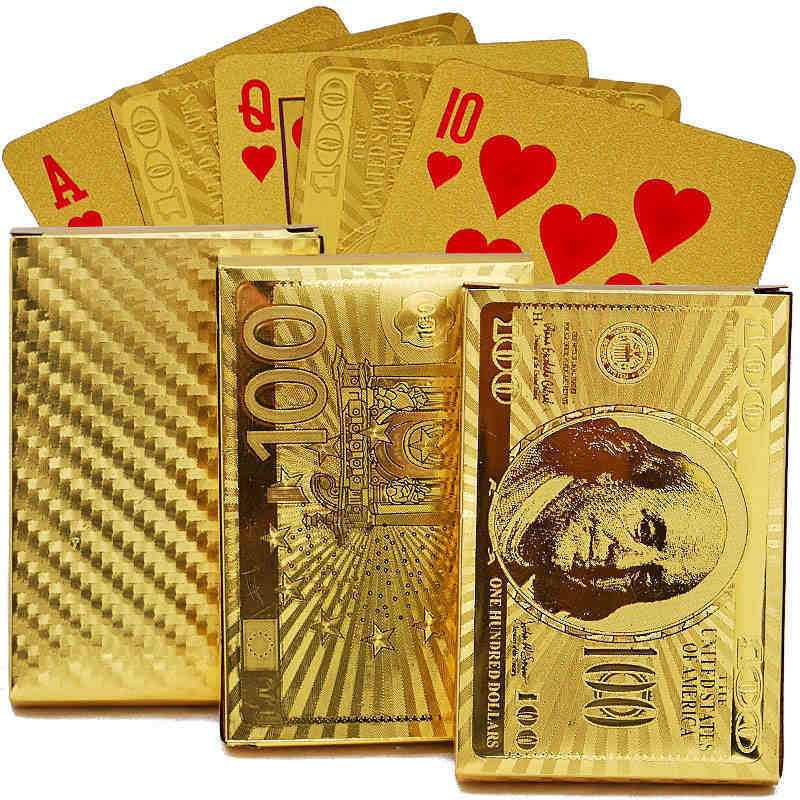 Newest Waterproof Plastic 24K Carat Gold Foil Playing Cards Plated Poker Game Playing Cards Gift Foil Poker