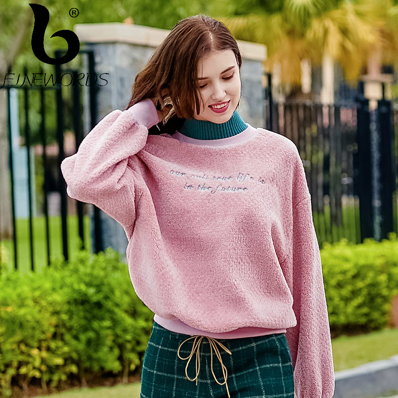 FINEWORDS Casual Pullover Christmas Cashmere Sweater Women pull femme Solid Student Winter Jumper Loose Velvet Sweaters ...