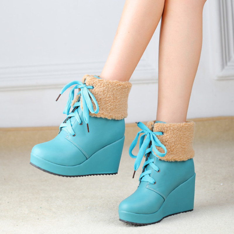 Fashion Winter Boots Women Wedge Shoes With Fur Warm Snow Boots Platform Shoes Women High Heels Comfortable Ankle Boots цена