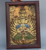 12'' tibet buddhism wood copper colored drawing Thousands Hands Guanyin statue