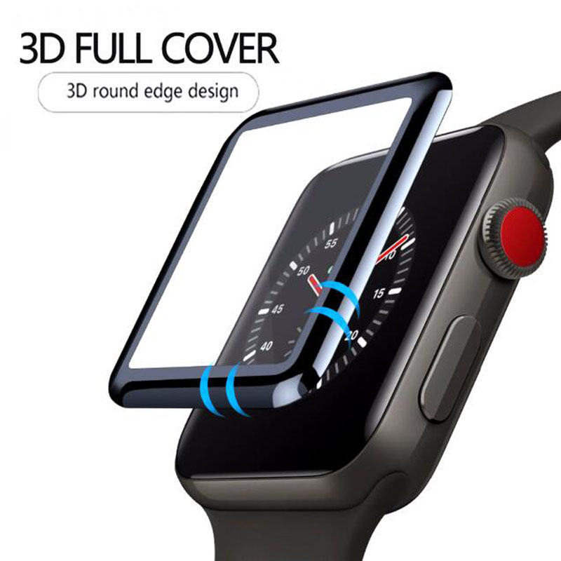 3D Curved Full Coverage Tempered Glass Protective Film For iwatch Apple Watch Series 1/2/3 38mm 42mm Full Screen Protector Cover